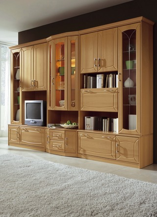 Hochwertig Klassische Wohnwand Mit Front In Buchedekor