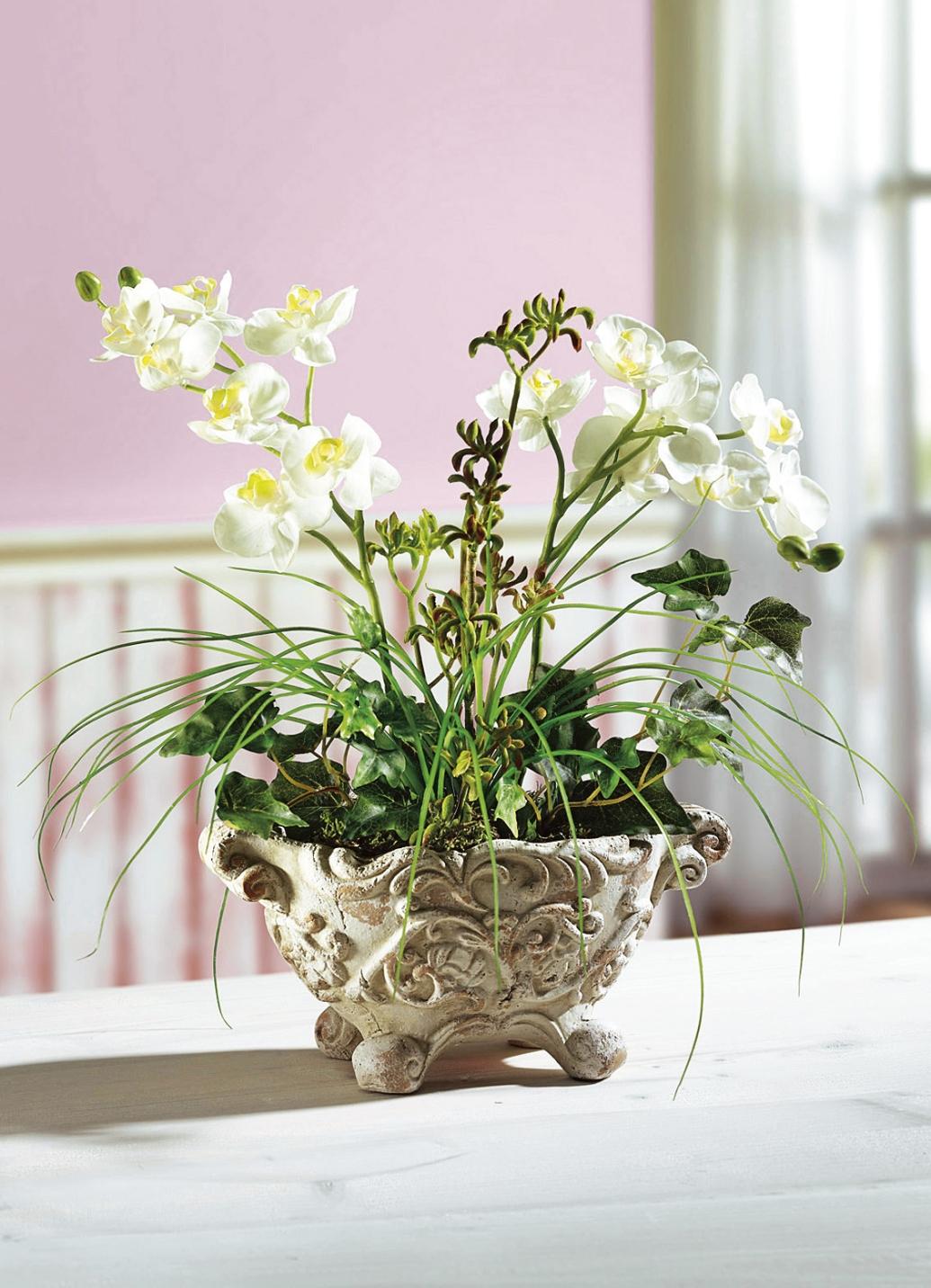 orchideen gesteck kunst textilpflanzen brigitte hachenburg. Black Bedroom Furniture Sets. Home Design Ideas