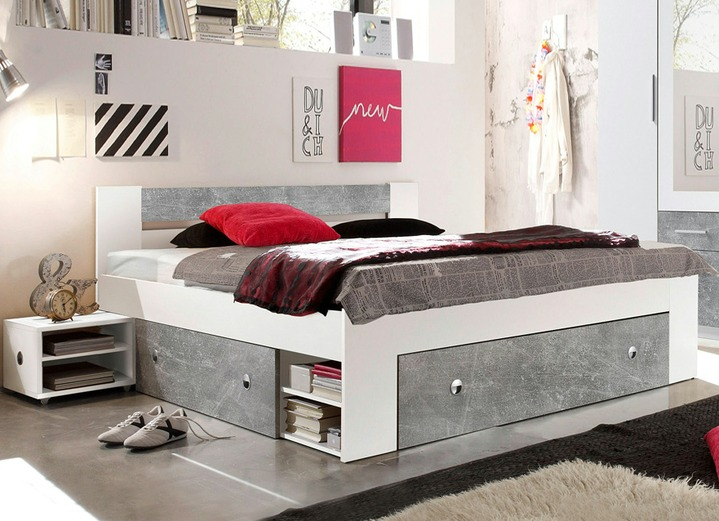 Praktisches Futonbett In Beton Weiss Schlafzimmer Brigitte Hachenburg