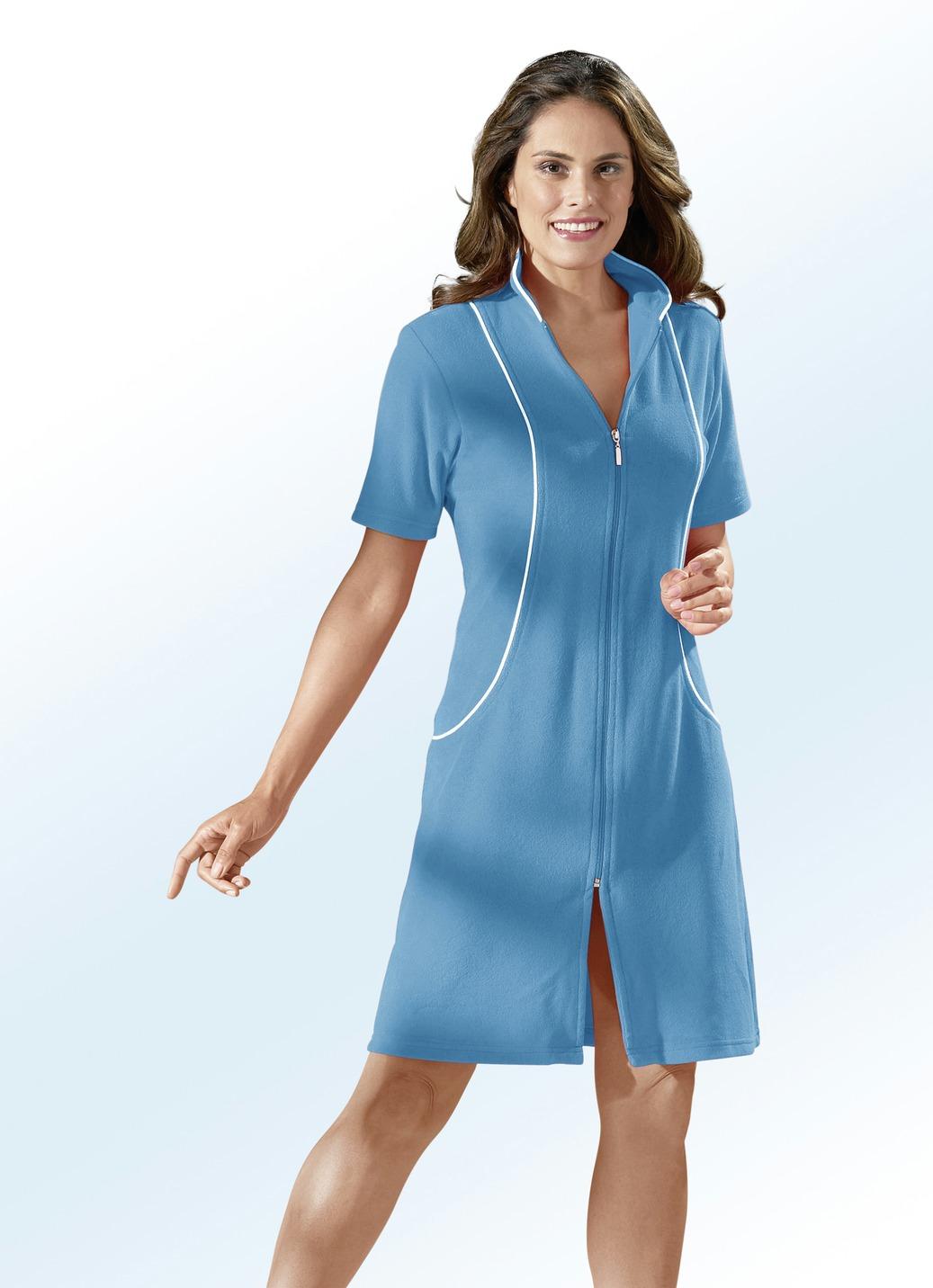 Hauskleid mit dekorativer kontrastpaspelierung in 4 farben for Brigitte hachenburg mode