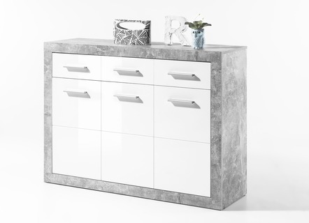 kommode 3 t rig mit korpus in beton optik wohnzimmer brigitte hachenburg. Black Bedroom Furniture Sets. Home Design Ideas