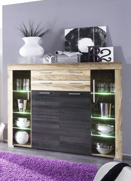 Vitrinen & Highboards - Highboard mit LED-Beleuchtung, in Farbe NUSSB.SATIN/AB