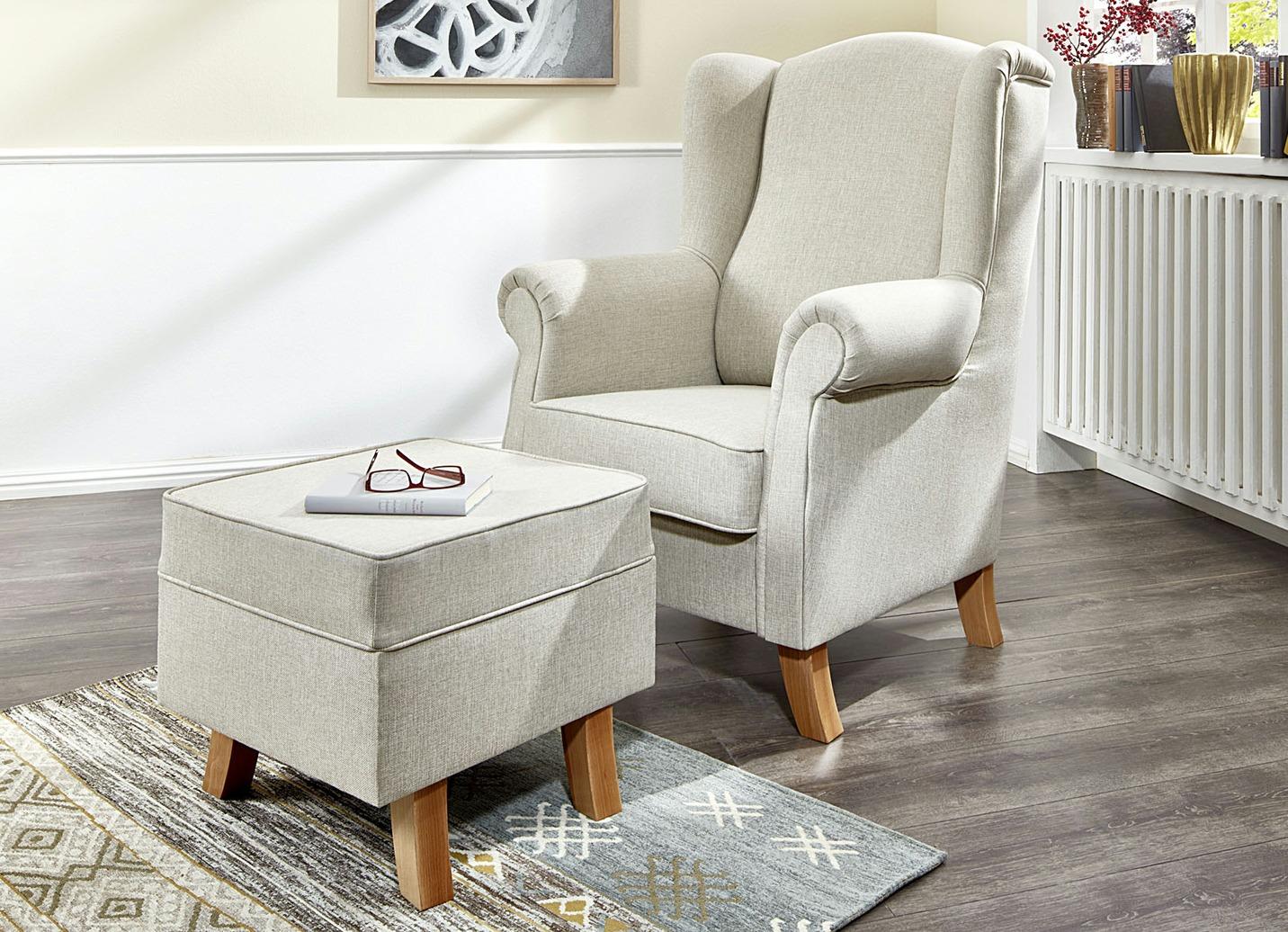 ohrenbackensessel mit hocker in verschiedenen farben wohnzimmer brigitte hachenburg. Black Bedroom Furniture Sets. Home Design Ideas