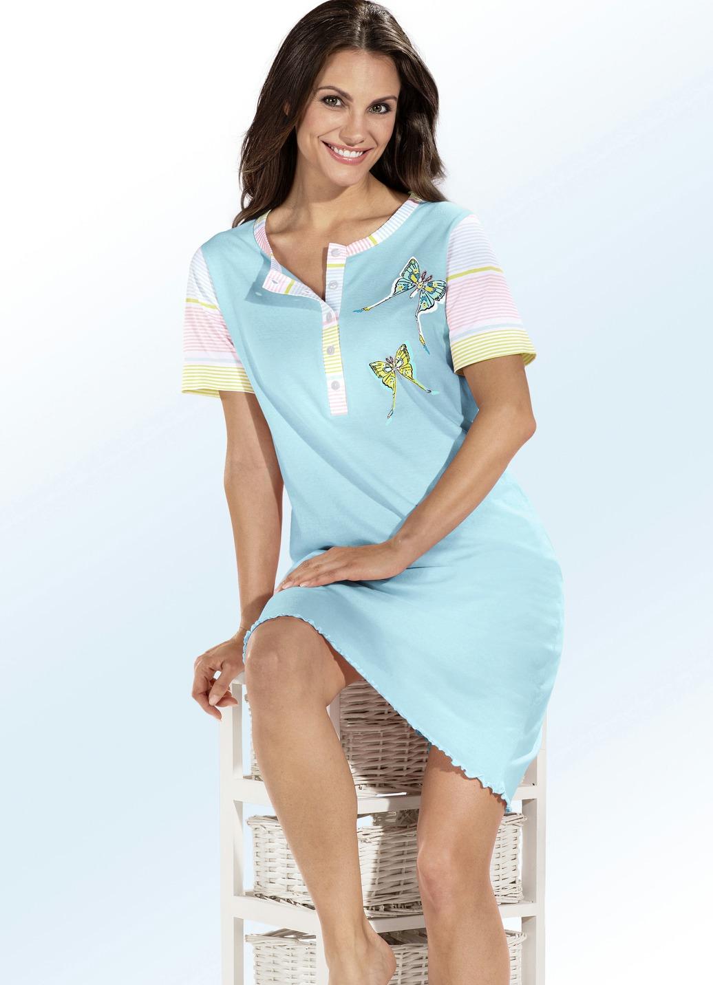 top ten zweierpack nachthemden kurzarm mit knopfleiste damen brigitte hachenburg. Black Bedroom Furniture Sets. Home Design Ideas