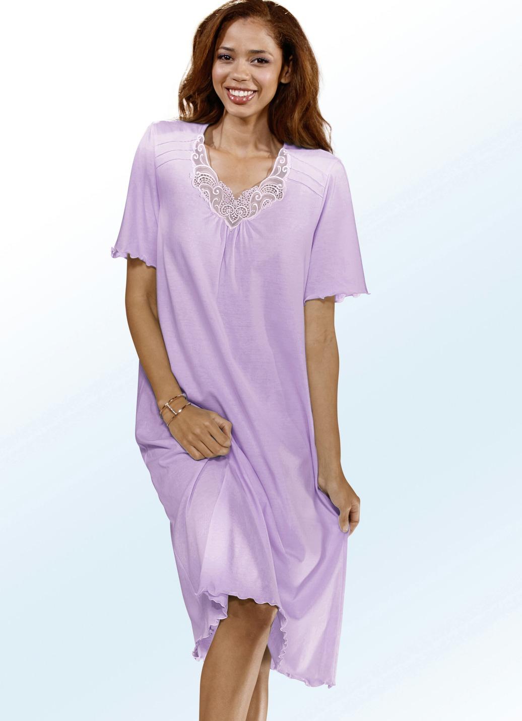 Nachthemd in 2 farben kurzarm mit v ausschnitt und spitze for Brigitte hachenburg de