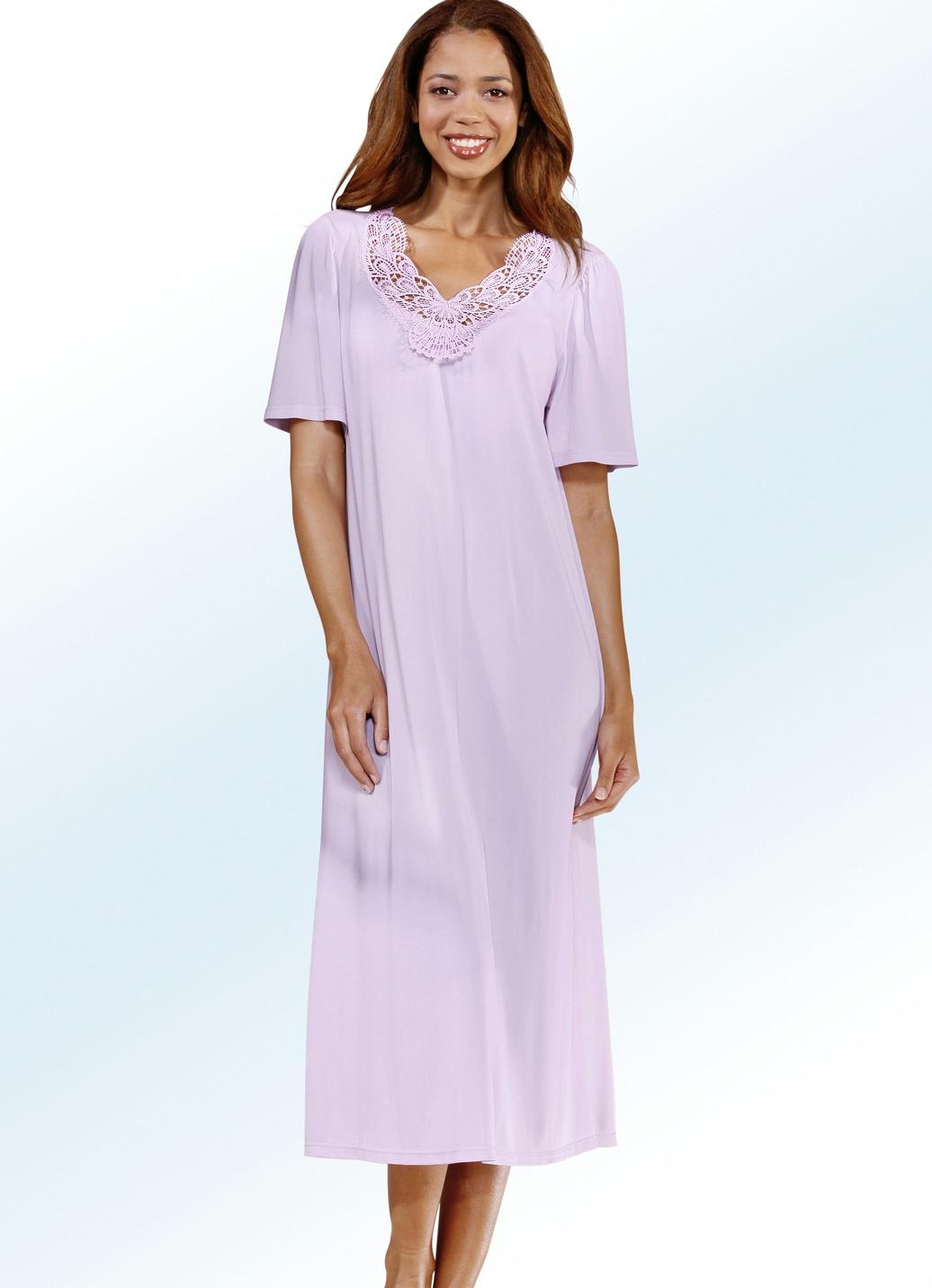 Nachthemd in 2 farben kurzarm mit v ausschnitt damen for Brigitte hachenburg mode