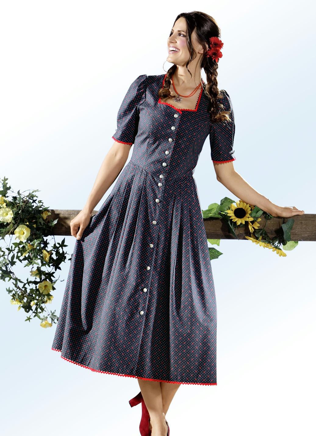 landhauskleid mit zauberhaftem tupfen und floraldessin damen brigitte hachenburg. Black Bedroom Furniture Sets. Home Design Ideas