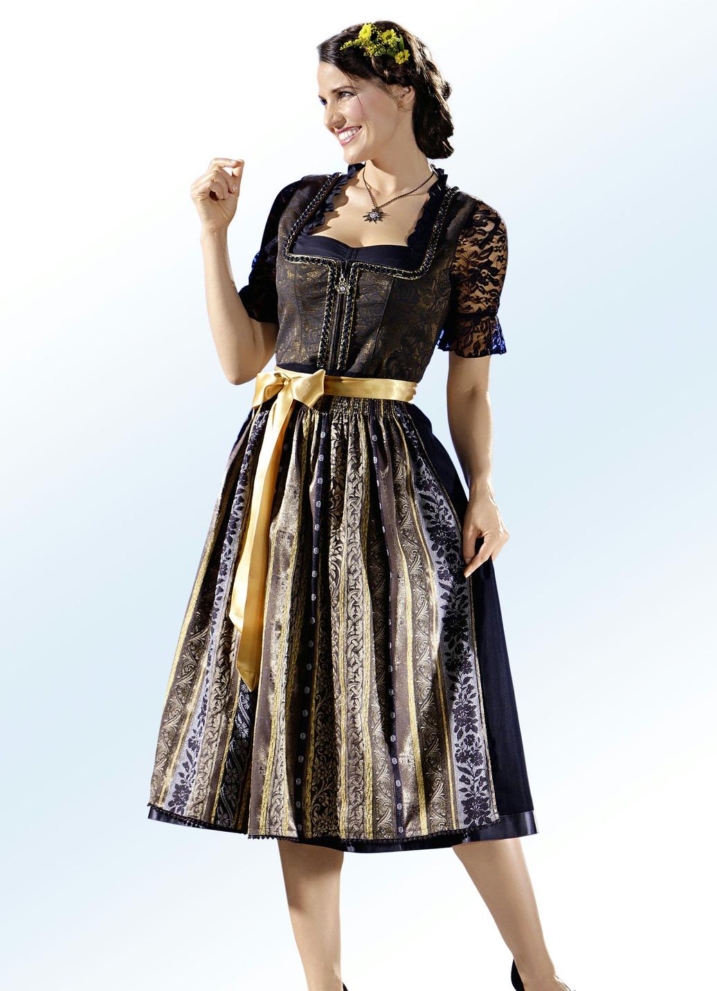 dirndl mit sch rze und schwarz goldener bortenzier damen brigitte hachenburg. Black Bedroom Furniture Sets. Home Design Ideas