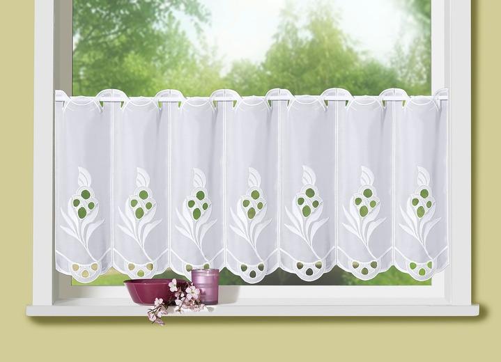 Landhaus küche kurzstore mit echter plauener stickerei in größe 828 50x150 cm