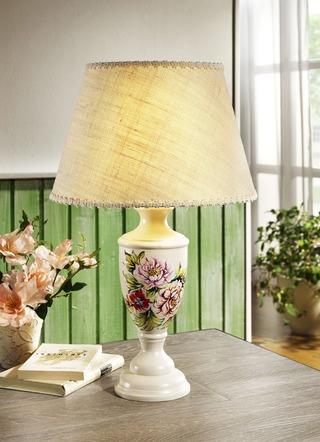 tischleuchte mit floralen motiven am fu lampen leuchten brigitte hachenburg. Black Bedroom Furniture Sets. Home Design Ideas