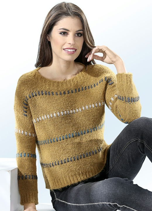 Damenmode - Pullover mit interessantem Allover-Muster, in Größe XS (32/34) bis L (44/46), in Farbe SAFRAN