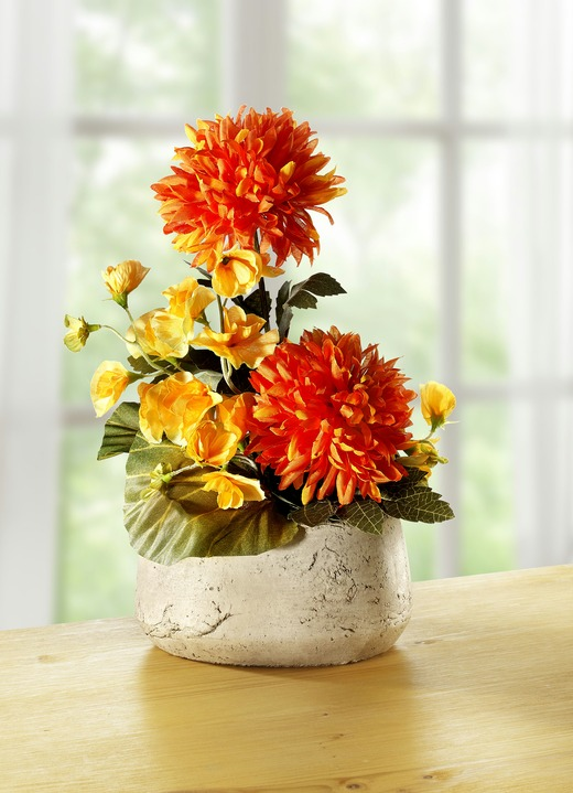 Kunst- & Textilpflanzen - Chrysanthemen-Gesteck, in Farbe ORANGE