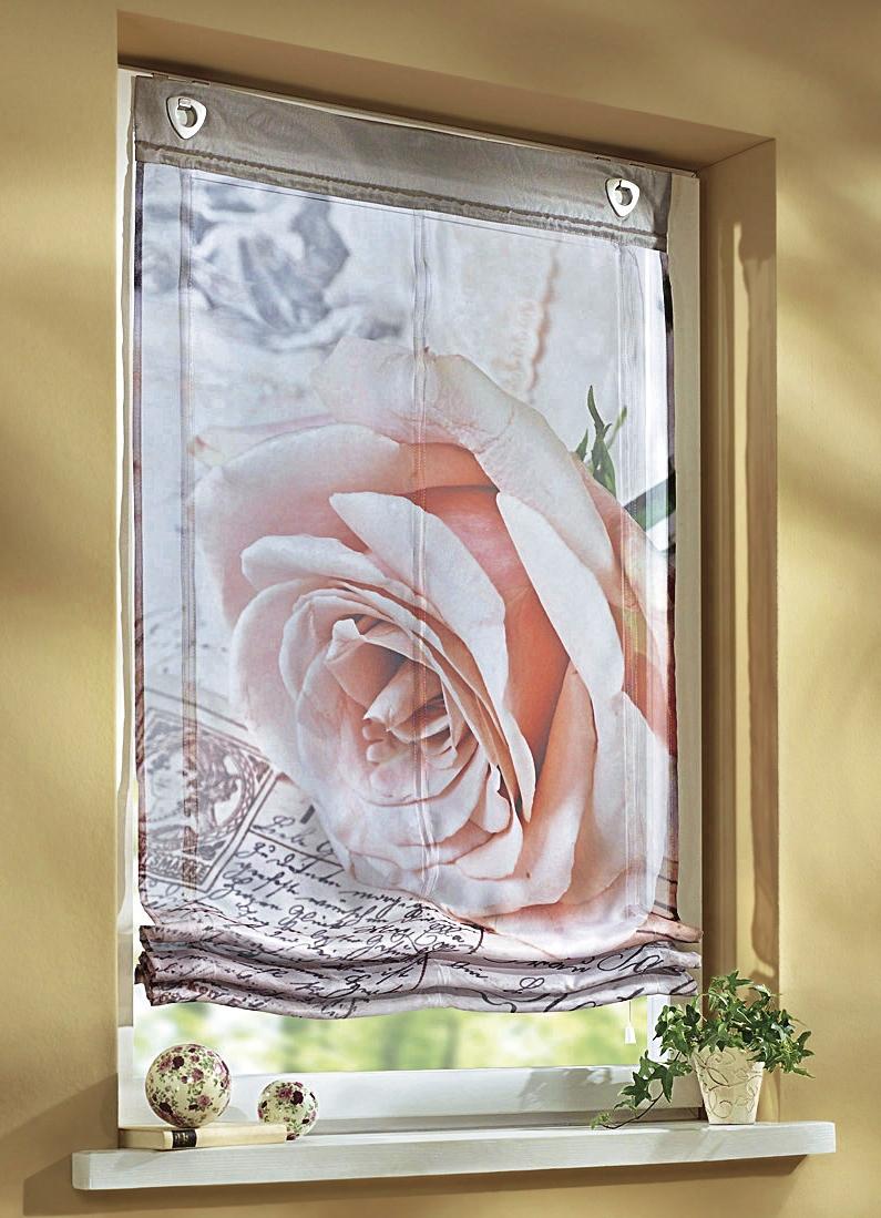 raffrollo mit rosen motiv gardinen brigitte hachenburg. Black Bedroom Furniture Sets. Home Design Ideas