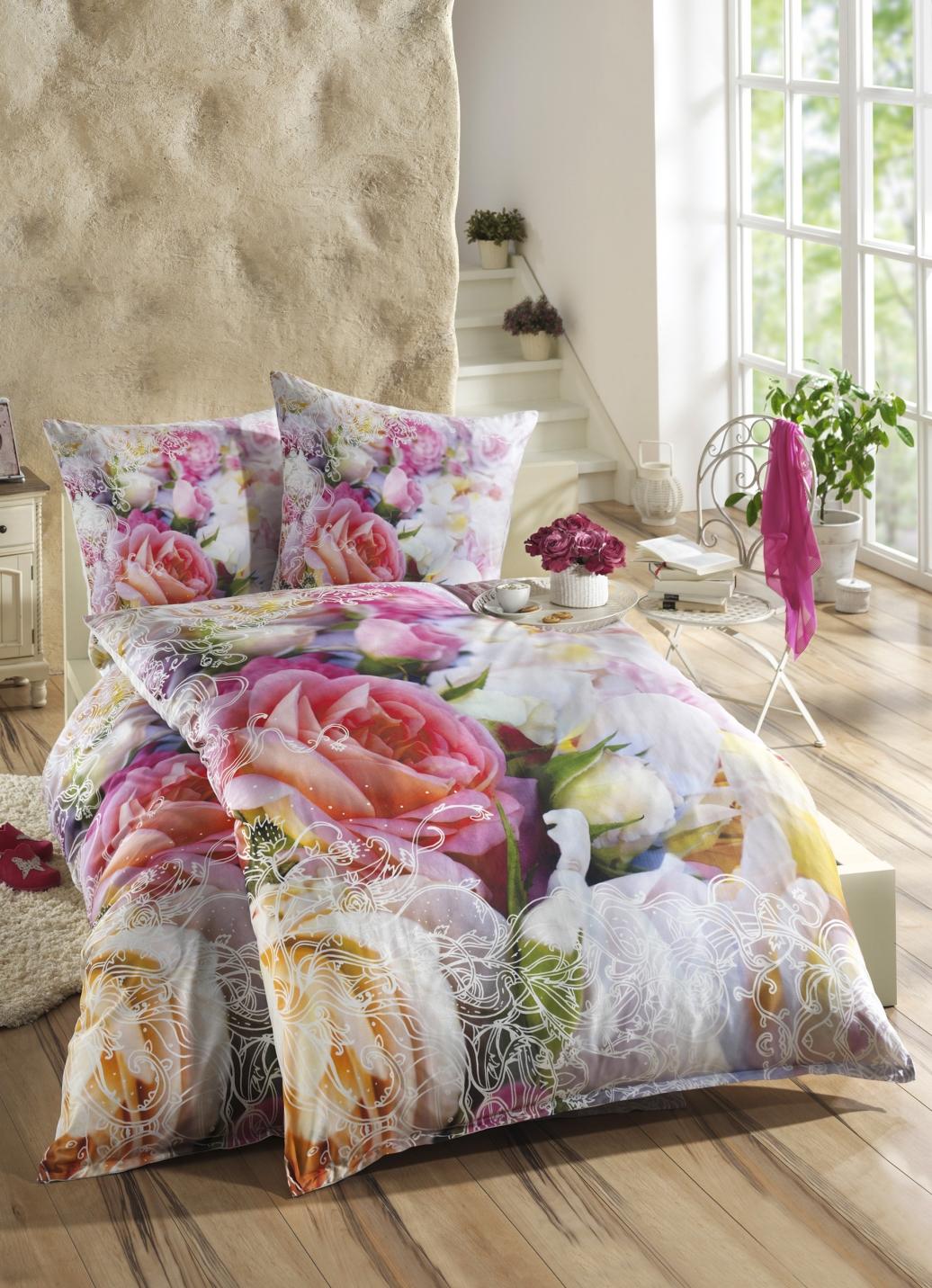 bettw sche garnitur mit rosen motive bettw sche. Black Bedroom Furniture Sets. Home Design Ideas