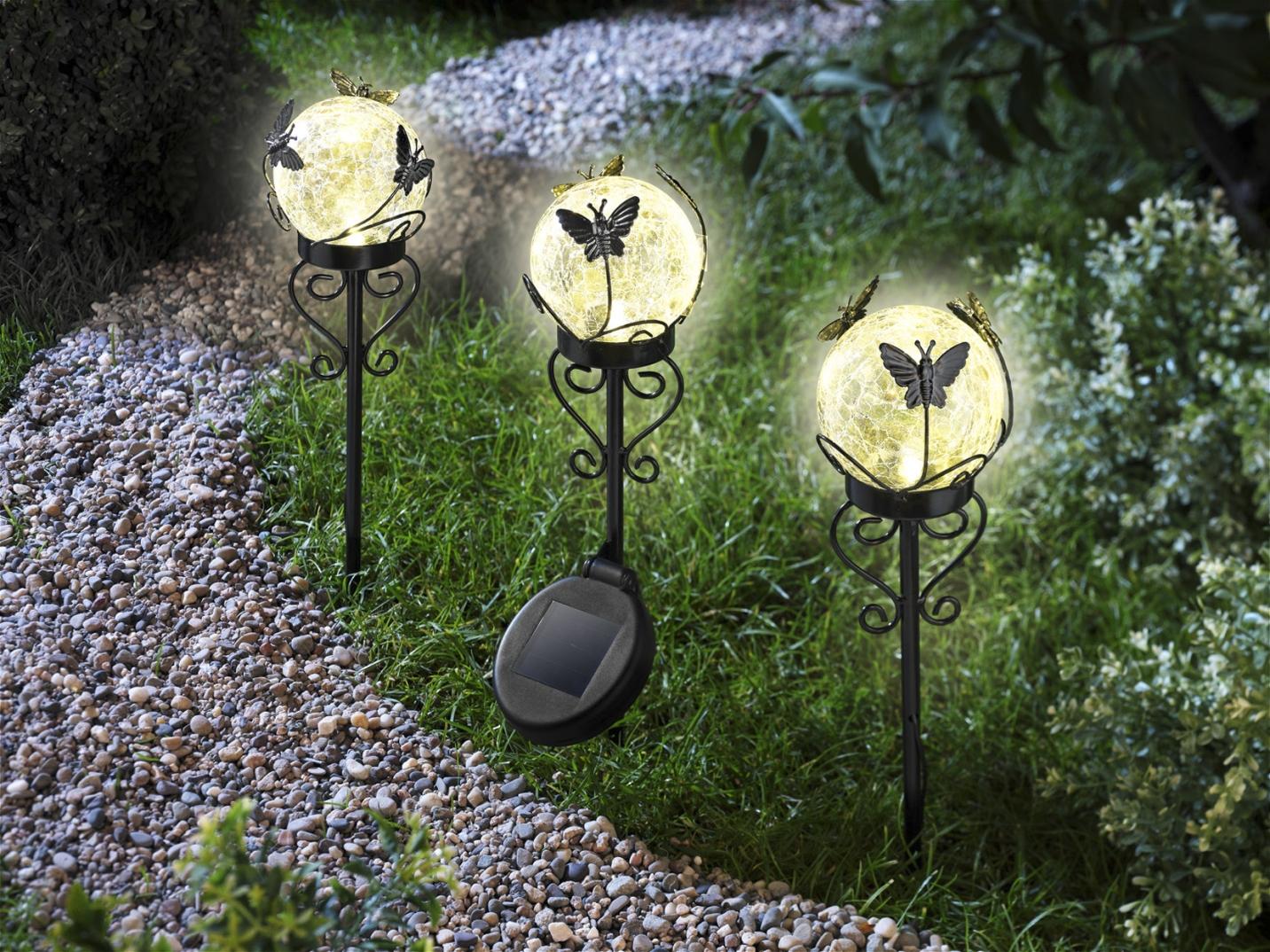 solarstecker kugeln 3er set gartenbeleuchtung. Black Bedroom Furniture Sets. Home Design Ideas