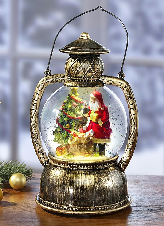 beleuchtete laterne mit automatischem schneefall weihnachtliche dekorationen brigitte hachenburg. Black Bedroom Furniture Sets. Home Design Ideas