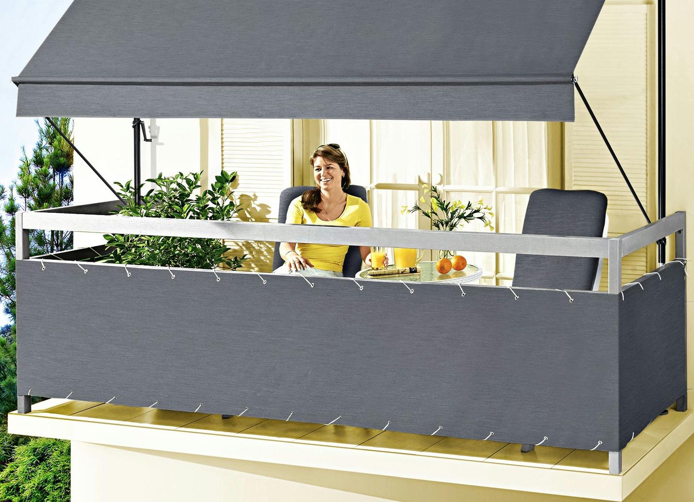 balkonbespannung style in verschiedenen farben sicht. Black Bedroom Furniture Sets. Home Design Ideas