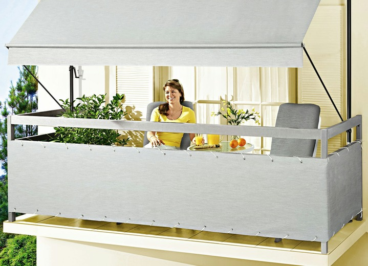 balkonbespannung style in verschiedenen farben sichtschutz und sonnenschutz brigitte. Black Bedroom Furniture Sets. Home Design Ideas