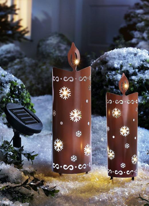 Kerzen Mit Solar Beleuchtung 2er Set Winterlicher Garten