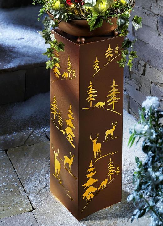easymaxx dekosaeule mit pflanzschale weihnachten