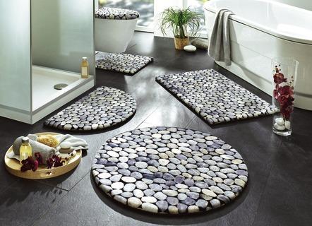 Badgarnituren Set badteppich set grau dekoration ideen